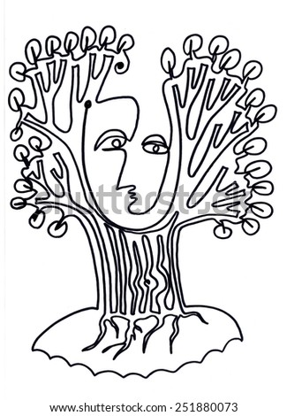 The sketched illustration of a fantasy tree with a face made manually in one line with the ink pen on the white background  - stock photo