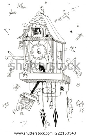 The sketched illustration of a fantasy wall-clock with the figures of the people and butterflies hand drawn with the ink pen - stock photo