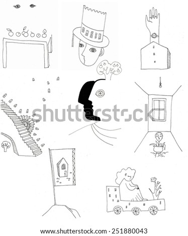The sketched illustration of the different small surrealistic icons made manually with the ink pen on the white background - stock photo