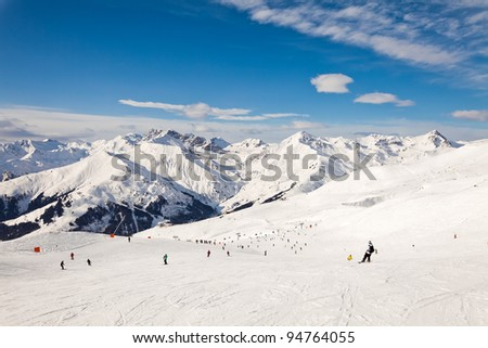 The skiing in winter resort Mayrhofen, Austria - stock photo