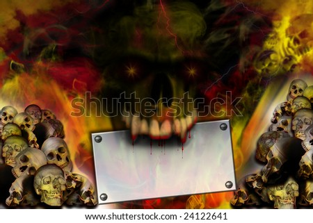 The skull holds a sign in a teeth - stock photo