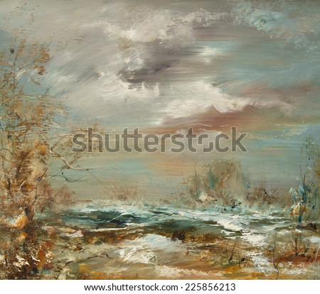 The sky in winter, oil painting artistic background - stock photo