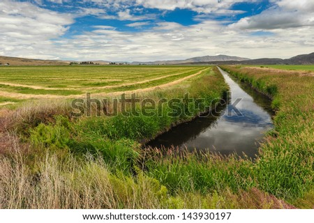 The sky is reflected in the water of an irrigation canal by a farm - stock photo