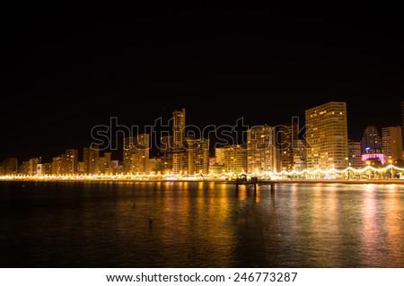 The skyline of Benidorm at night, Costa Blanca, Spain - stock photo