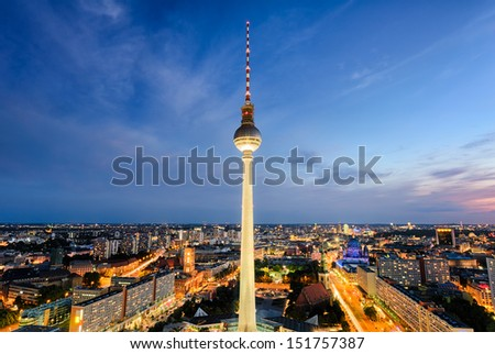 The skyline of Berlin, Germany at night - stock photo