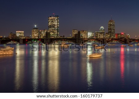 The skyline of Boston during fall - stock photo