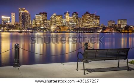 The skyline of Boston in Massachusetts, USA at sunset. - stock photo