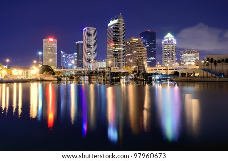 The skyline of downtown Tampa, Florida - stock photo