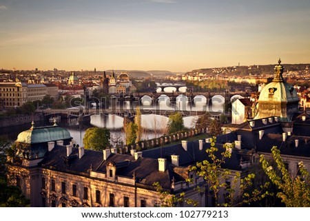 The skyline of Prague at sunrise, Czech Republic - stock photo