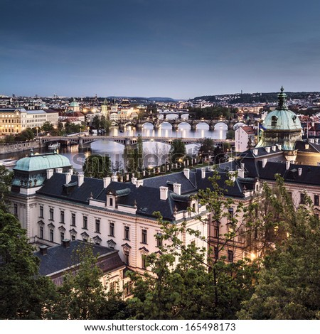 The skyline of Prague at twilight, Czech Republic - stock photo