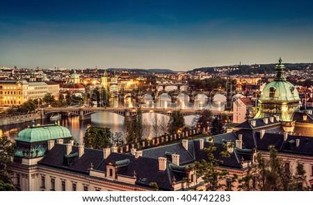 The skyline of Prague at twilight, Czech Republic - stock photo