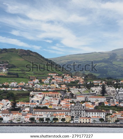 The Skyline of the City of Horta in the Portuguese, Azores - stock photo
