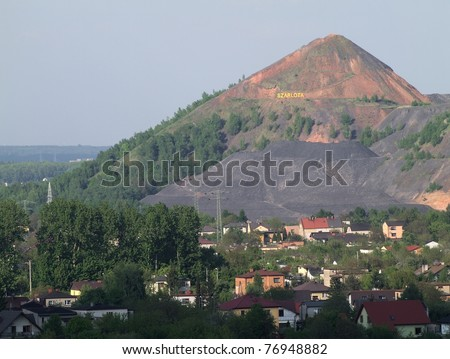The slagheap of waste of coal mining industry in Rydu?towy - stock photo
