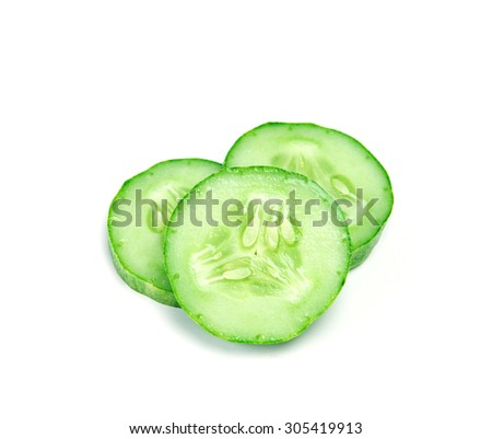 The Sliced Cucumber on white background - stock photo