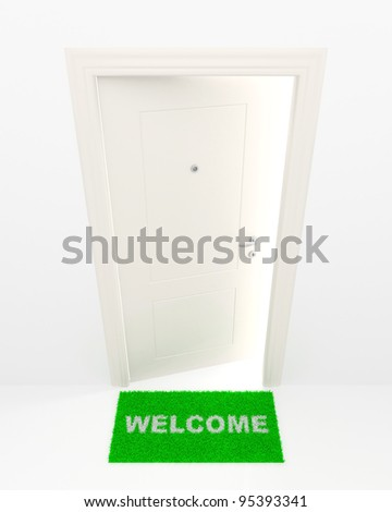 The slightly opened white door and green rug with an inscription: Welcome. - stock photo