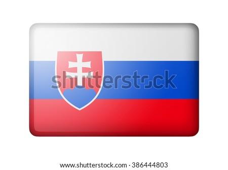 The Slovakia flag. Rectangular matte icon. Isolated on white background. - stock photo