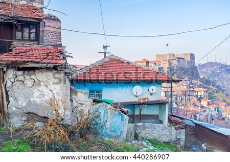 The slums and dilapidated housing in the city center is one of the main problems of Ankara, Turkey. - stock photo