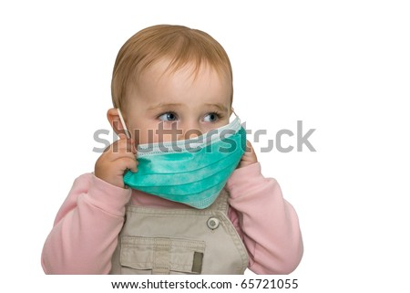 The small child is protected from viruses (on a white background). - stock photo