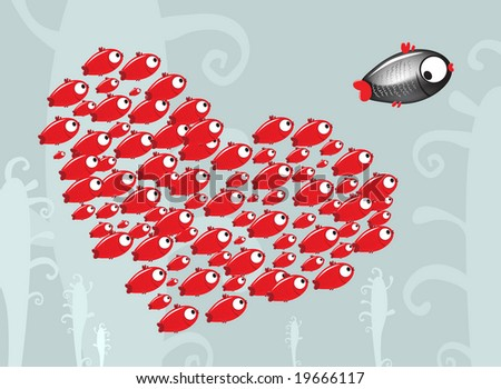 the small fish escaping from crowd of admirers. raster version - stock photo