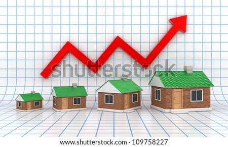 The small houses with a green roof on diagramme background - stock photo