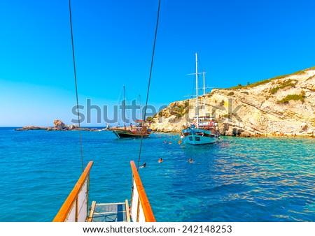 the small island Plati near Pserimos island in Greece - stock photo