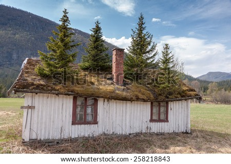 The Small Norwegian building in Norway mountain. - stock photo