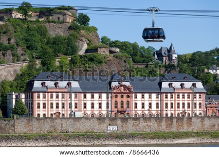 The small town of Ehrenbreitstein on the opposite side of the river Rhine from Koblenz. Famous for it's Fortress Ehrenbreitstein and Germany's longest aerial cable car to access it. - stock photo