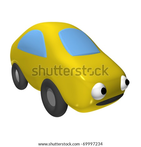 The small toy car 3d with eyes, it is isolated - stock photo