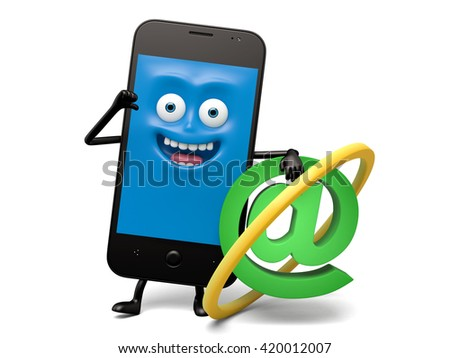 The smartphone and an email model - stock photo