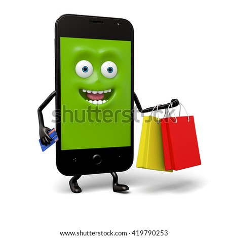The smartphone bought a lot of things - stock photo