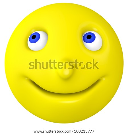 The smilie smiles and looks sideways. On the isolated background - stock photo