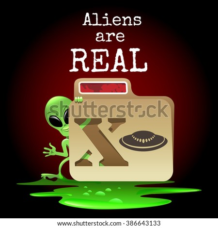 The smiling alien look out of X file with wording Aliens are real. Free font used. - stock photo