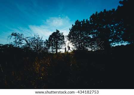 The smilling couple in love jumping between trees - stock photo