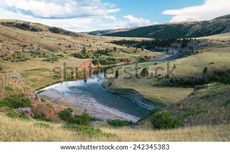 The Smith River Flows Gently Through a Remote Part of Central Montana, USA - stock photo