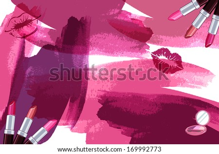 The smooches, smears and smudges of lipstick. - stock photo