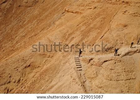 the snake path to Masada - stock photo