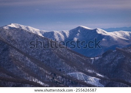 The snow-covered Black Mountain Range in the distance as the snow line is visible. Down below you see a Christmas Tree farm. Taken along the Appalachian Trail on Round Bald at Roan Mountain. - stock photo
