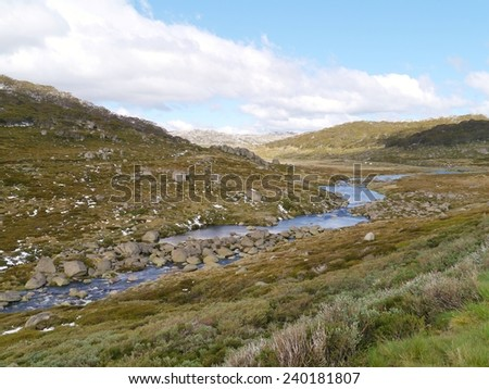 The Snowy mountains above the village Thredbo near Jindabyne in New South Wales in Australia - stock photo