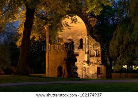 "The so-called ""Barbarossa-ruins"" in the old city of Nijmegen in the Netherlands. - stock photo"