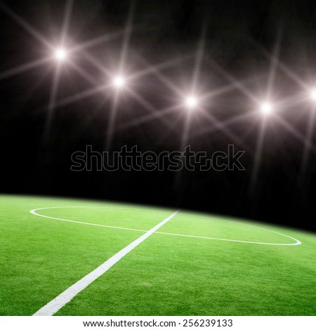 The soccer field and the bright lights - stock photo