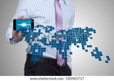 The social networks of business people on handheld. - stock photo
