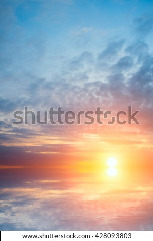 The soft setting sun and waves. Natural composition of sea sunset - stock photo