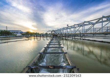 The Solid Contact Clarifier Tank type Sludge Recirculation process in Water Treatment plant - stock photo