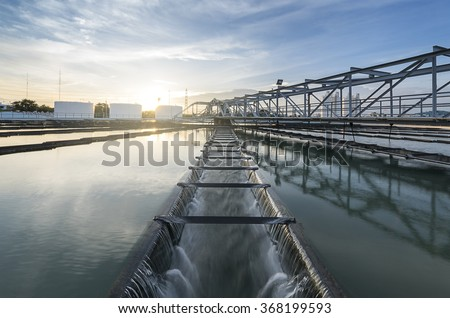 The Solid Contact Clarifier Tank type Sludge Recirculation with sunrise - stock photo