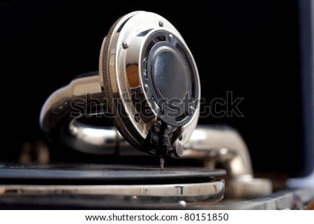 The sound of vintage... close up of a very old gramophone - stock photo
