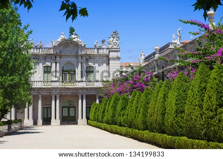 The south front of the Robillon wing in Queluz National Palace, in the municipality of Sintra, Lisbon district, Portugal - stock photo