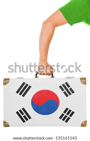 The South Korea flag on a suitcase. Isolated on white. - stock photo