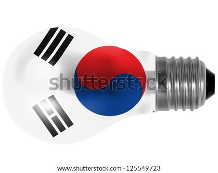 The South Korea flag  painted on lightbulb - stock photo