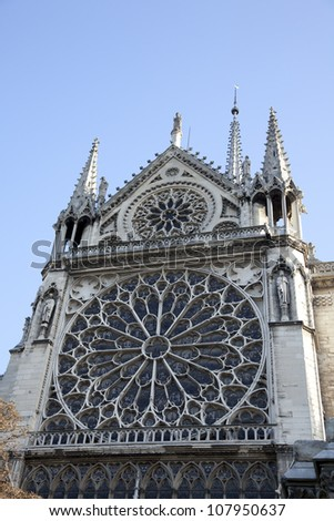 The South Rose Window, Notre Dame de Paris - south facade, view from the Seine - stock photo