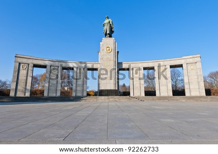 The Sowjetische Ehrenmal (Soviet Memorial) located in the Tiergarten was built in 1945 to honor the fallen Red Army soldiers during the Second World War at Berlin, Germany - stock photo